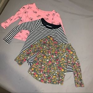 Lot of 3 Toddler Girl Patterned Long Sleeve Tees